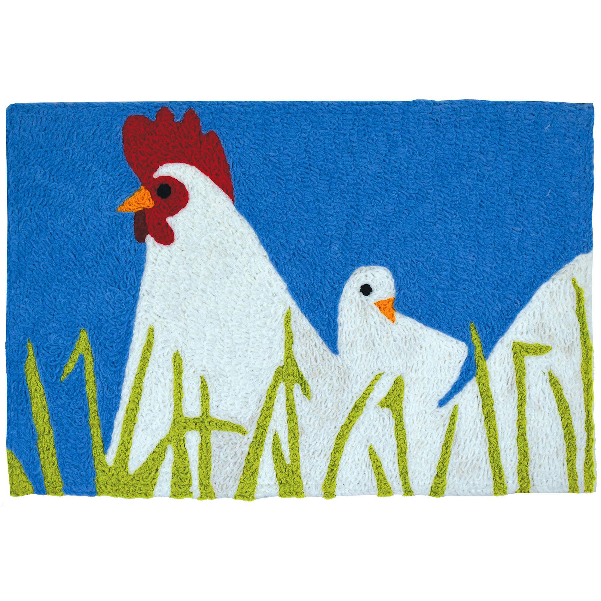 A white hen and her chick are enjoying the free-range life among light green blades of grass on this Jellybean® accent rug. Artist Sarah Frederking has made a simple statement piece suitable for indoor or outdoor placement. This indoor/outdoor throw rug is crafted from machine washable polyester.
