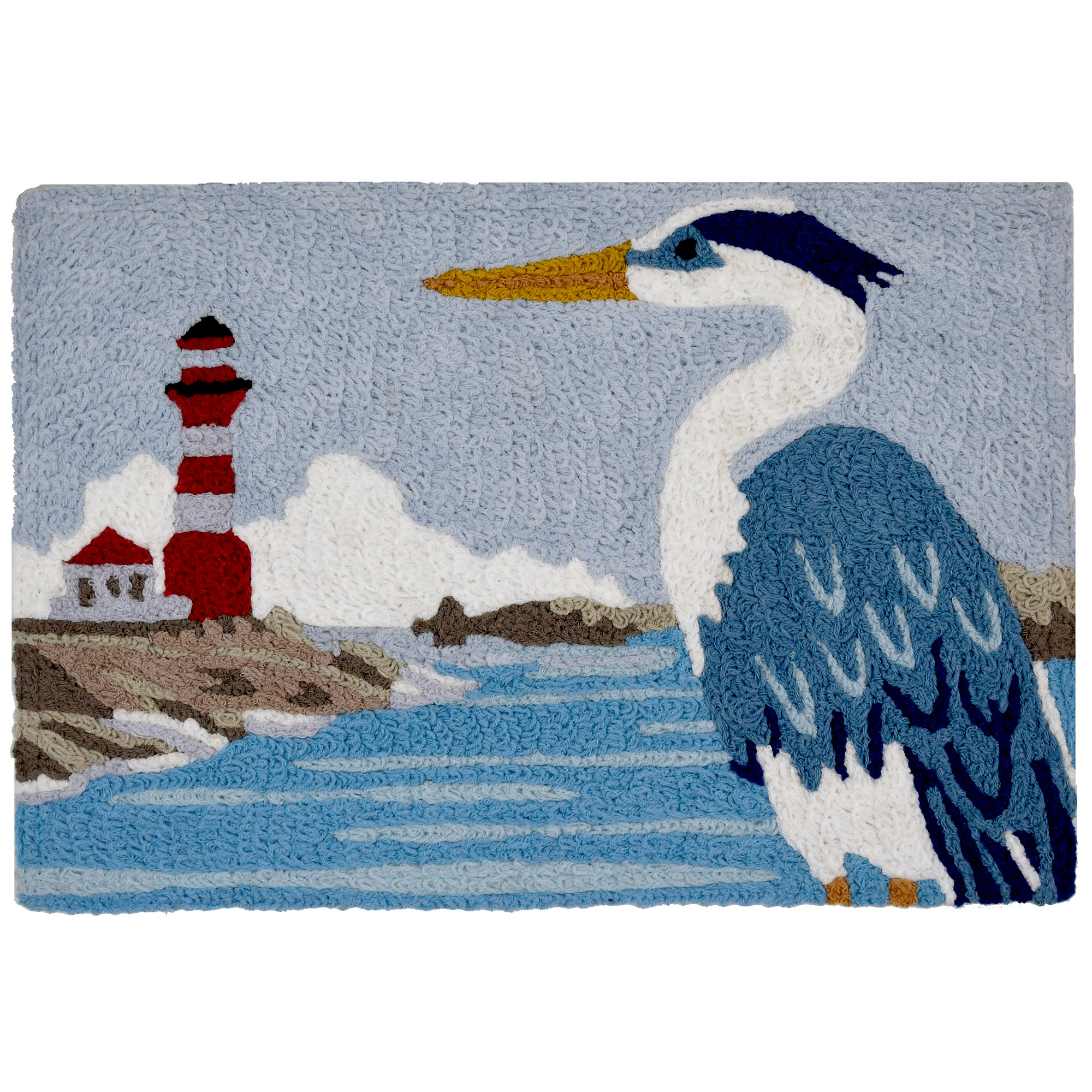 A bold blue and white heron stares off into the distance, watching the lighthouse in its grandeur. This coastal themed Jellybean® accent rug is machine washable with a simple color combination that will work well in a variety of spaces. Crafted of polyester, this throw rug is suitable for indoor and outdoor use.