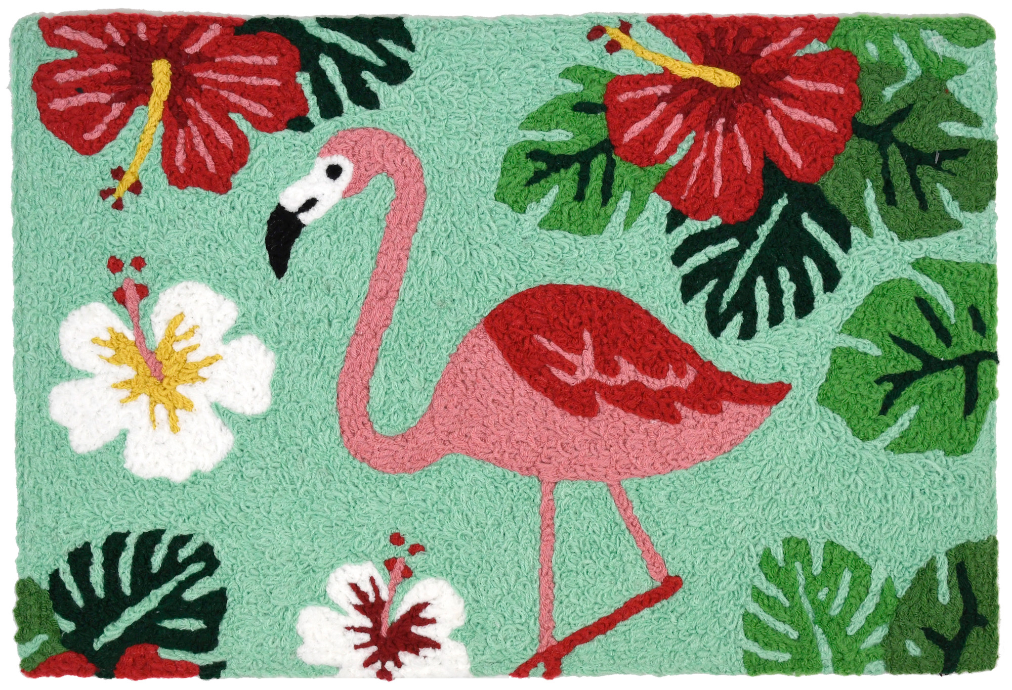 The eye is drawn to the graceful pink flamingo in the center of hibiscus blooms on this Jellybean® accent rugs. Lush leaves and full blooms will be welcome indoors and out with the placement of this machine washable rug. The polyester construction offers durability and easy maintenance of the work of designer Sharon Lee.