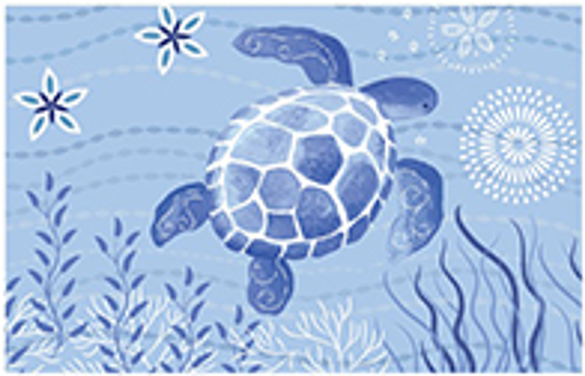 This Jellybean® accent rug features a blue turtle swimming through cool waters and navy colored plant life. Polyester fibers make this underwater scene accessible indoors and out. Designed by Sharon Lee, this machine washable rug is crafted for continued enjoyment.