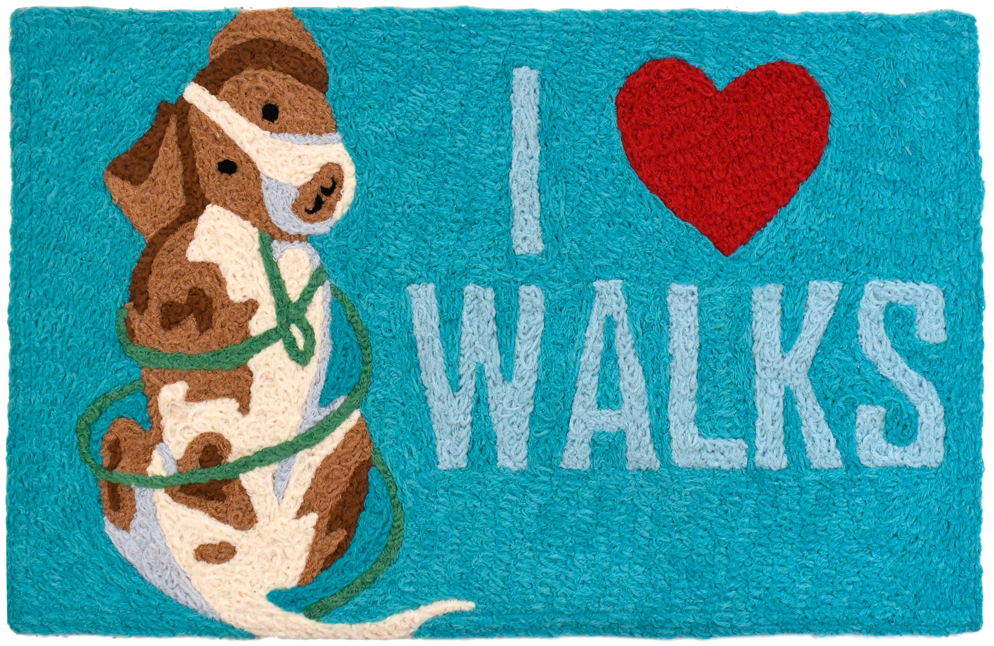 "Display your love for your furry friend with this playful Jellybean® accent rug design. Your fawn and ivory colored pal is ready with leash for a leisurely walk. His intentions are made clear with the words I ""heart"" walks. Designed for delight and built for stability, this Jellybean® is machine-washable."