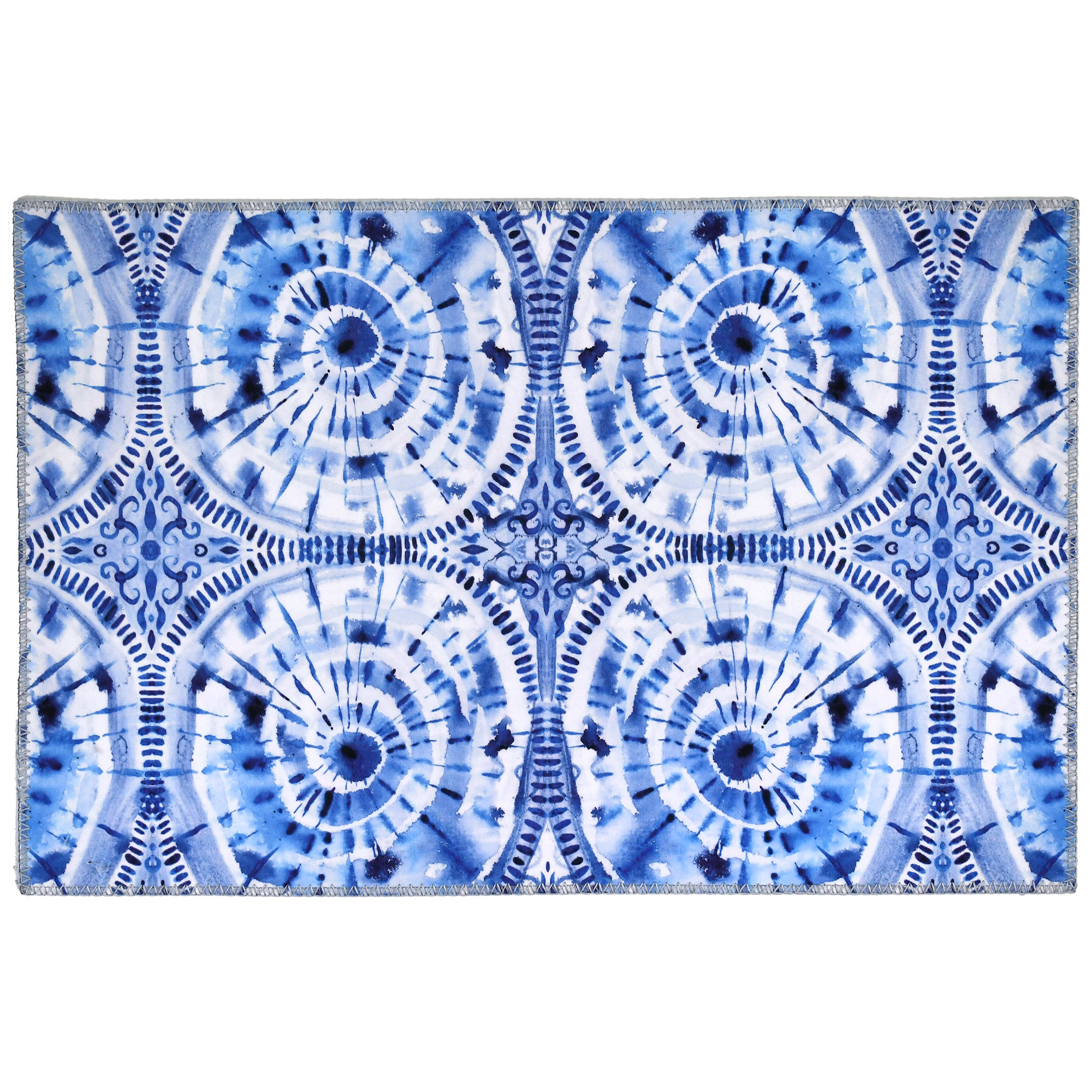 "Japanese shibori inspiration by Audrey Jean Roberts leads to an intricate blue and white design. Homefires by Jellybean® offers an innovative approach to floor coverings with poly-suede floor cloths. Machine washable printed polyester available in four sizes offers a decorative floor cloth, thin enough to slide tables and chairs with ease. Available sizes: 20"" x 30"", 3' x 5', 5' x 7', and 21"" x 54"""