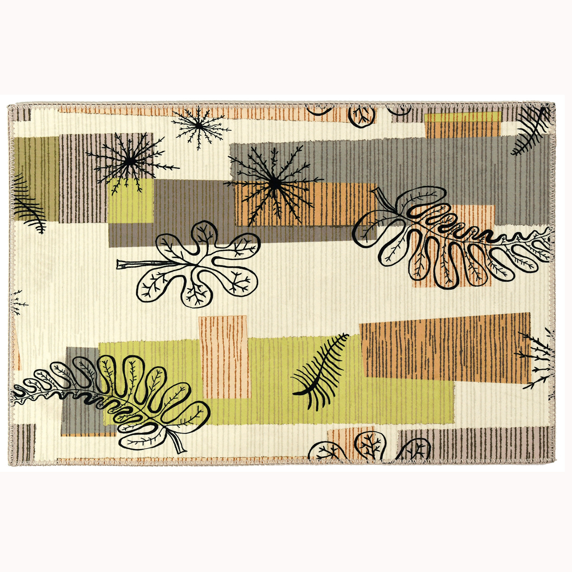 Neutral colors are printed on this Homefires by Jellybean® poly-suede floor cloth. The suede feel of this polyester is delivered in a design by Elizabeth Hale. The machine washable floor cloth is thin enough to rest under table and chairs while increasing mobility. Four sizes from accent to area are available.