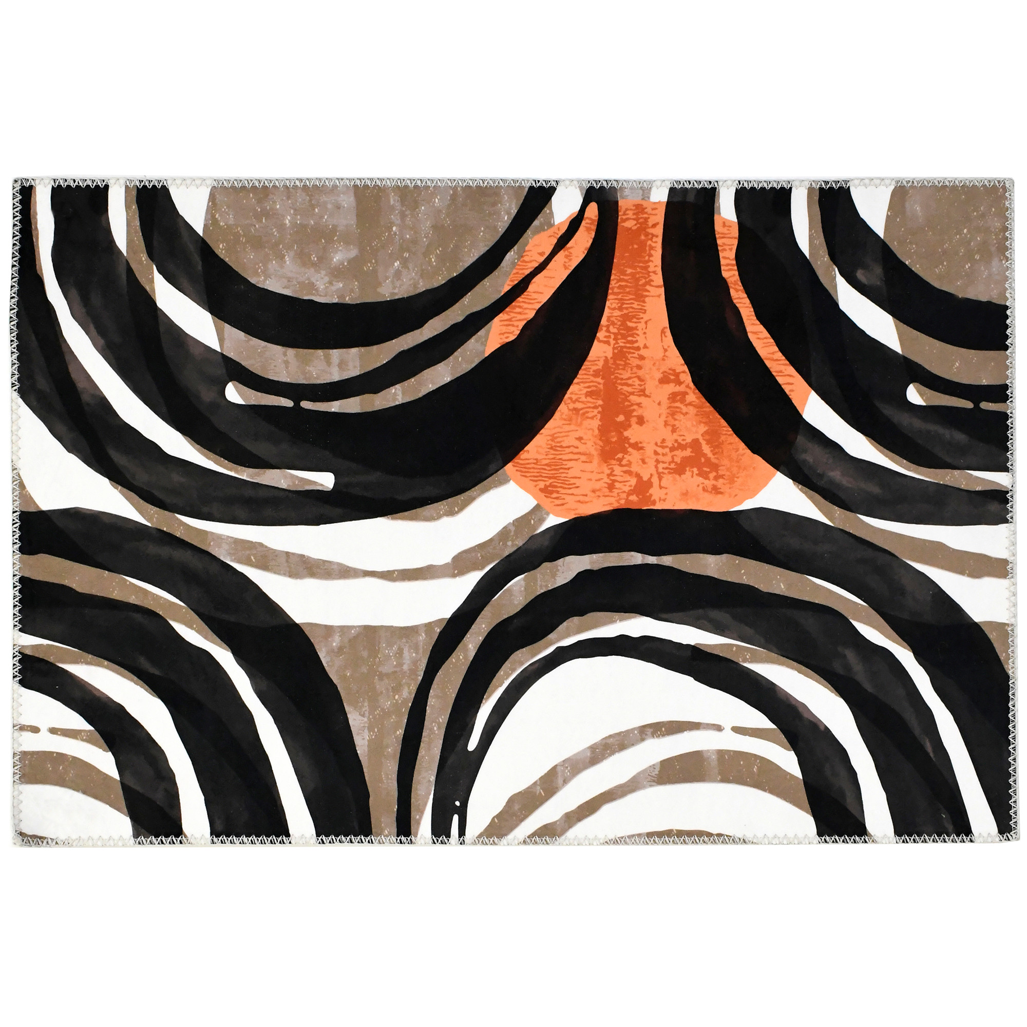 Warm hues of brown and orange swirl in orbs on this Homefires by Jellybean® poly-suede floor cloth designed by Elizabeth Hale. The printed polyester offers a thin, machine washable floor covering with flexible placement options and four sizes available.