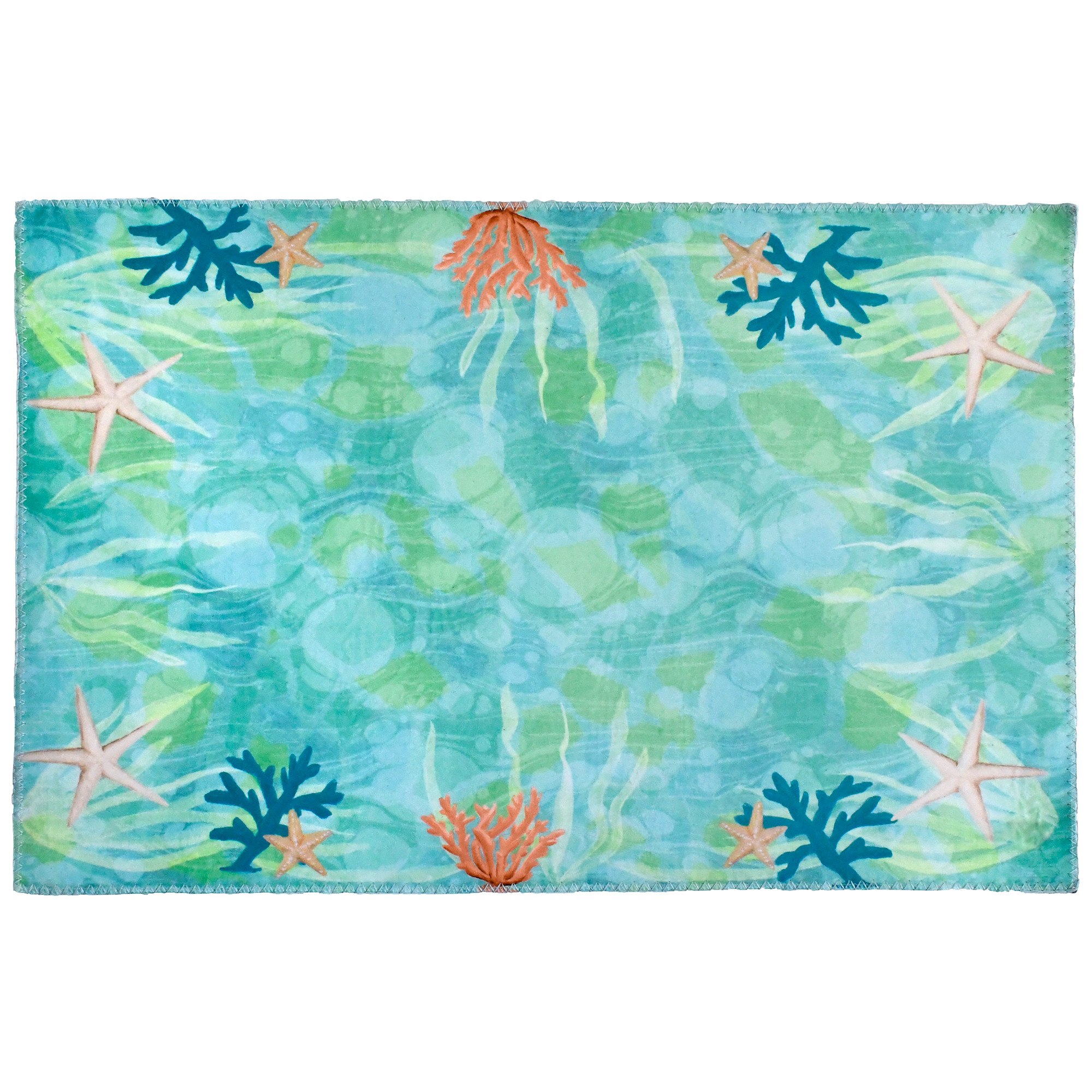 Designer Hugo Edwins has delivered an underwater seascape with this Homefires by Jellybean® poly-sued floor cloth. Muted oceanic hues printed on polyester provide a machine washable floor cloth, thin enough to rest under furniture and provide added mobility for tables and chairs. This suede feel floor cloth is available in four sizes.