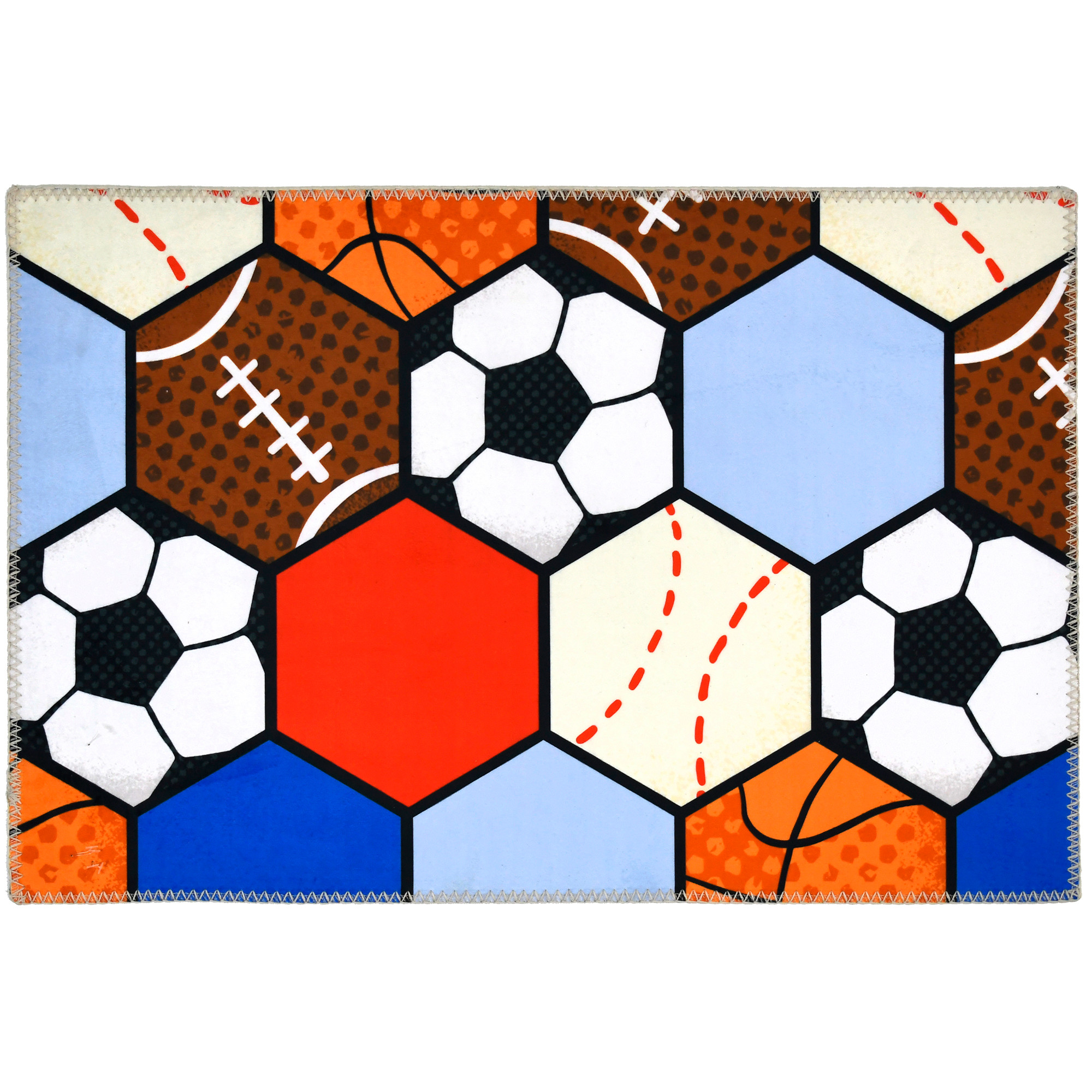 This Homefires by Jellybean® poly-suede floor cloth features an all-star creation by Heather Rosas. Hexagons of sports balls are printed on polyester providing a machine washable floor cloth, thin enough for a myriad of spaces. Available in four sizes, this floor cloth can be used in bedrooms, offices and classrooms alike.