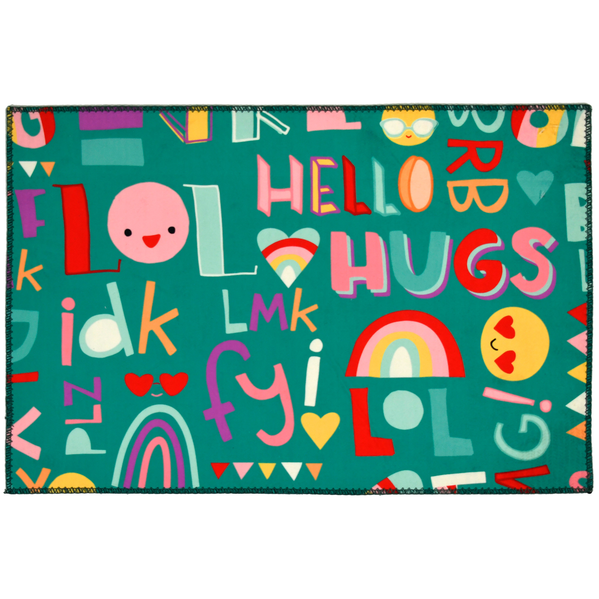 This Homefires by Jellybean® poly-suede floor cloth by Heather Rosas is all a buzz with incoming messages. Bright emojis and text are printed on this machine washable floor cloth. Available in four sizes, this floor cloth is thin enough to be used under furniture for maneuverability.