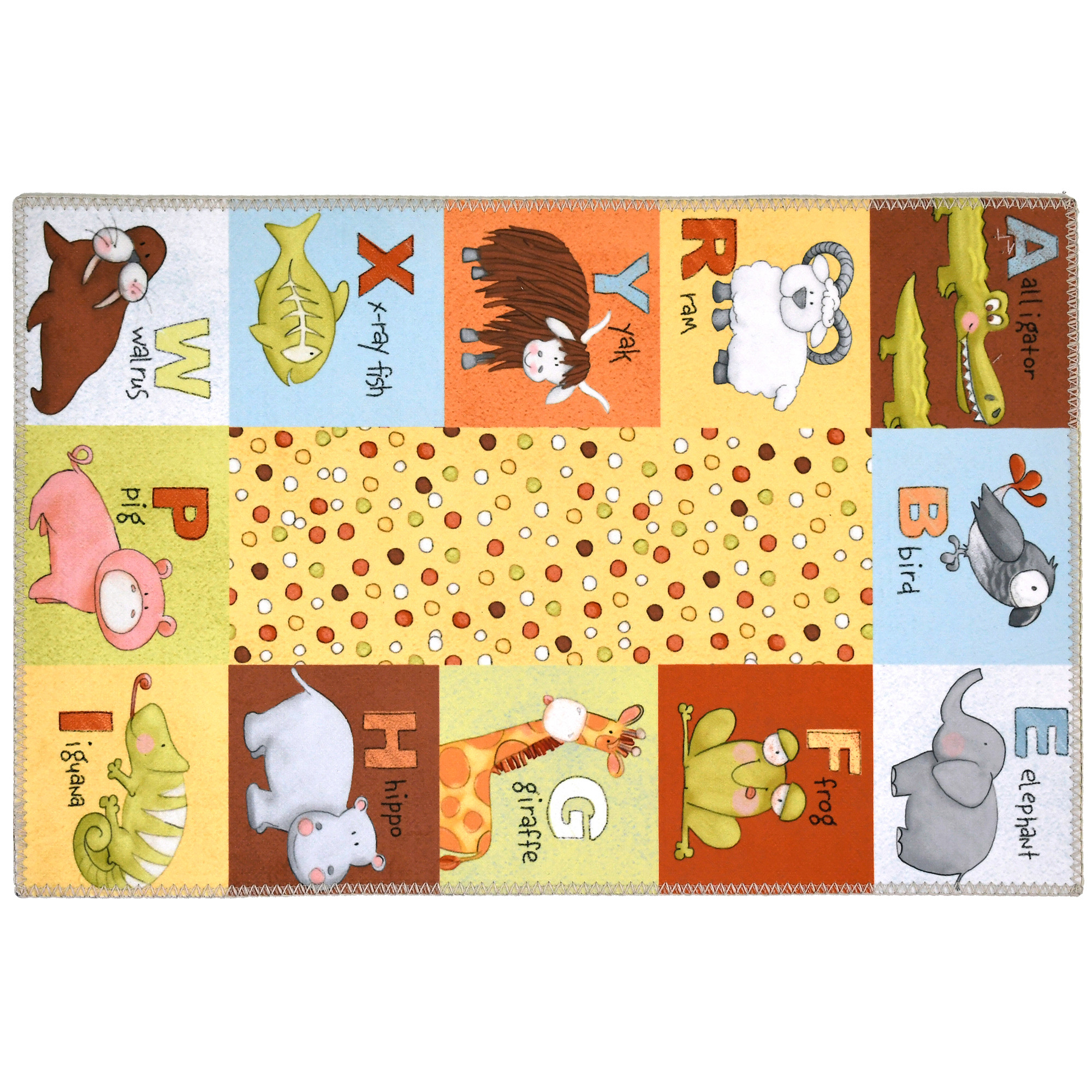 Bright colors with dots, animals, and the alphabet complete this Homefires by Jellybean® poly-suede floor cloth. Machine washable printed polyester make this design by Julie Dobson Minor a favorite for children's rooms and spaces. This floor cloth is thin enough to use under furniture pieces and available in four sizes.