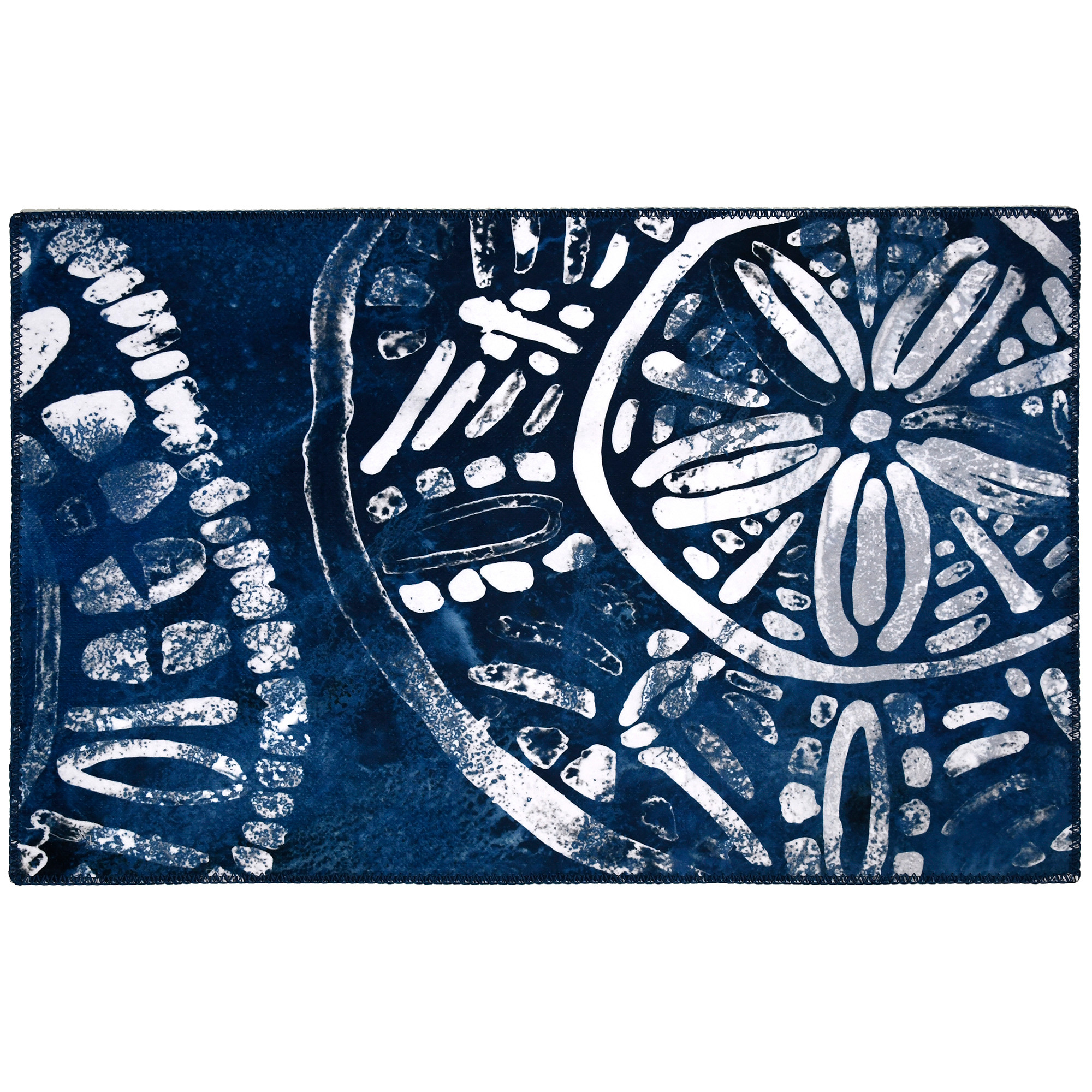 Become transformed by this nautical themed rug designed by June Erica Vess.  The rich colors, and sea inspired design will complement any décor.