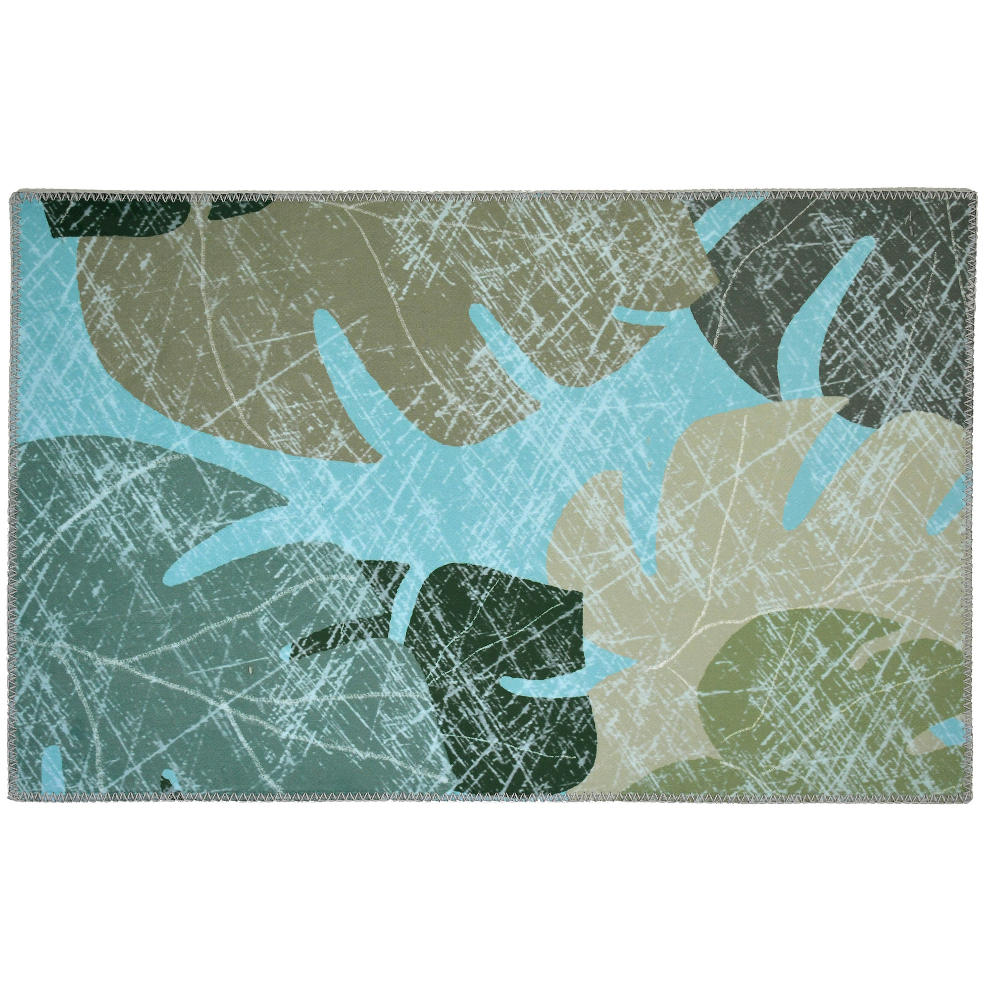 Faded tropical leaves are captured by designer Jade Reynolds on this Homefires by Jellybean® poly-suede floor cloth. The color and details are captured through printing on polyester providing a machine washable floor cloth. With suede like texture, this poly-suede floor cloth is available in four sizes.
