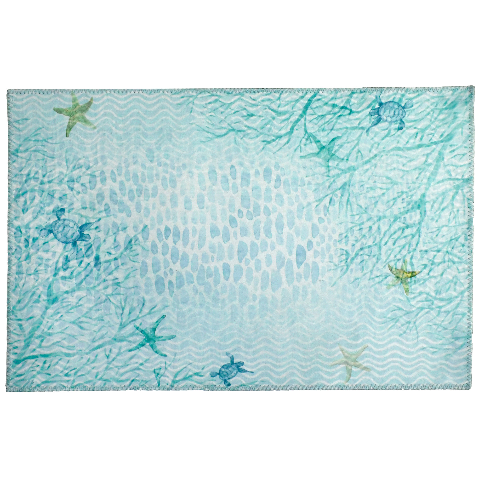 Printed polyester on this Homefires by Jellybean® poly-sued floor cloth offers a clear aquamarine view of the sea coral. Designed by Sherri Buck Baldwin, this floor cloth is machine washable and available in four sizes.