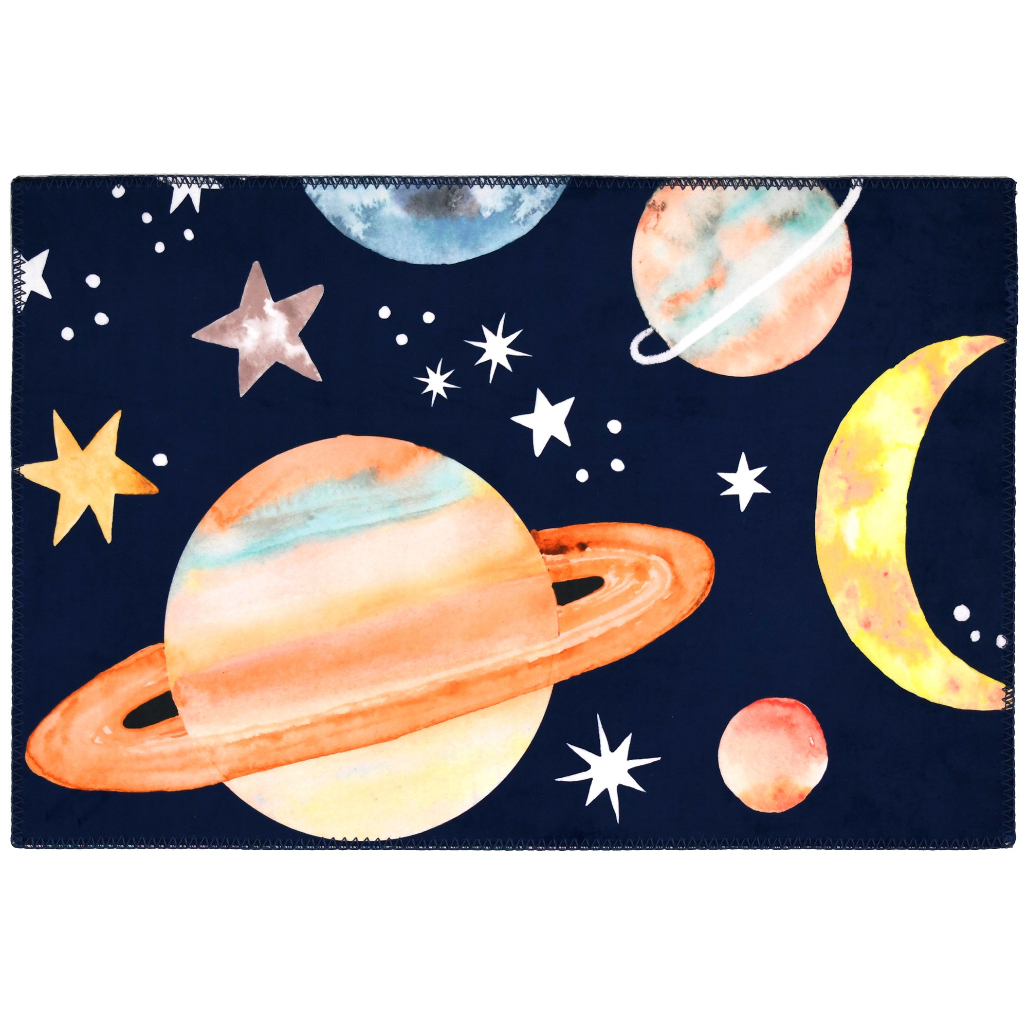 To infinity and beyond, the galaxy has been captured on Sara B.'s Homefires by Jellybean® poly-suede floor cloth. The vibrant hues against a dark blue background are printed on machine washable polyester. The suede like floor cloth is available in four sizes.
