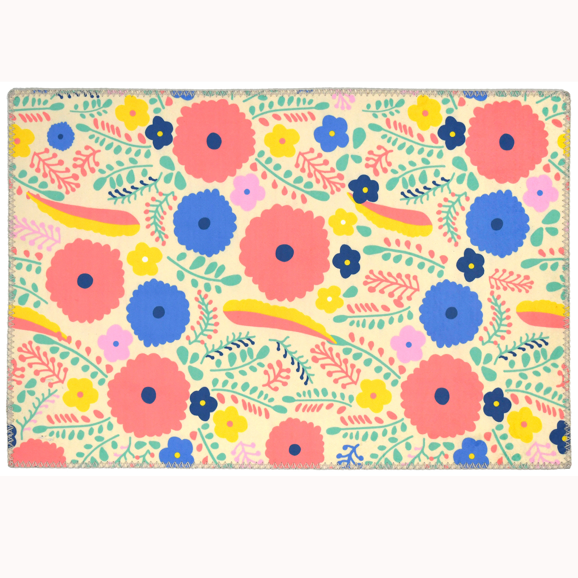Colorful buds, blooms, and feathers swirl against the pale background of this Homefires by Jellybean® poly-suede floor cloth. The whimsical, hippie feel by designer Sara B. has been captured on a machine washable floor cloth. Available in four sizes, this suede feel floor cloth will smooth the friction between floors and furniture.