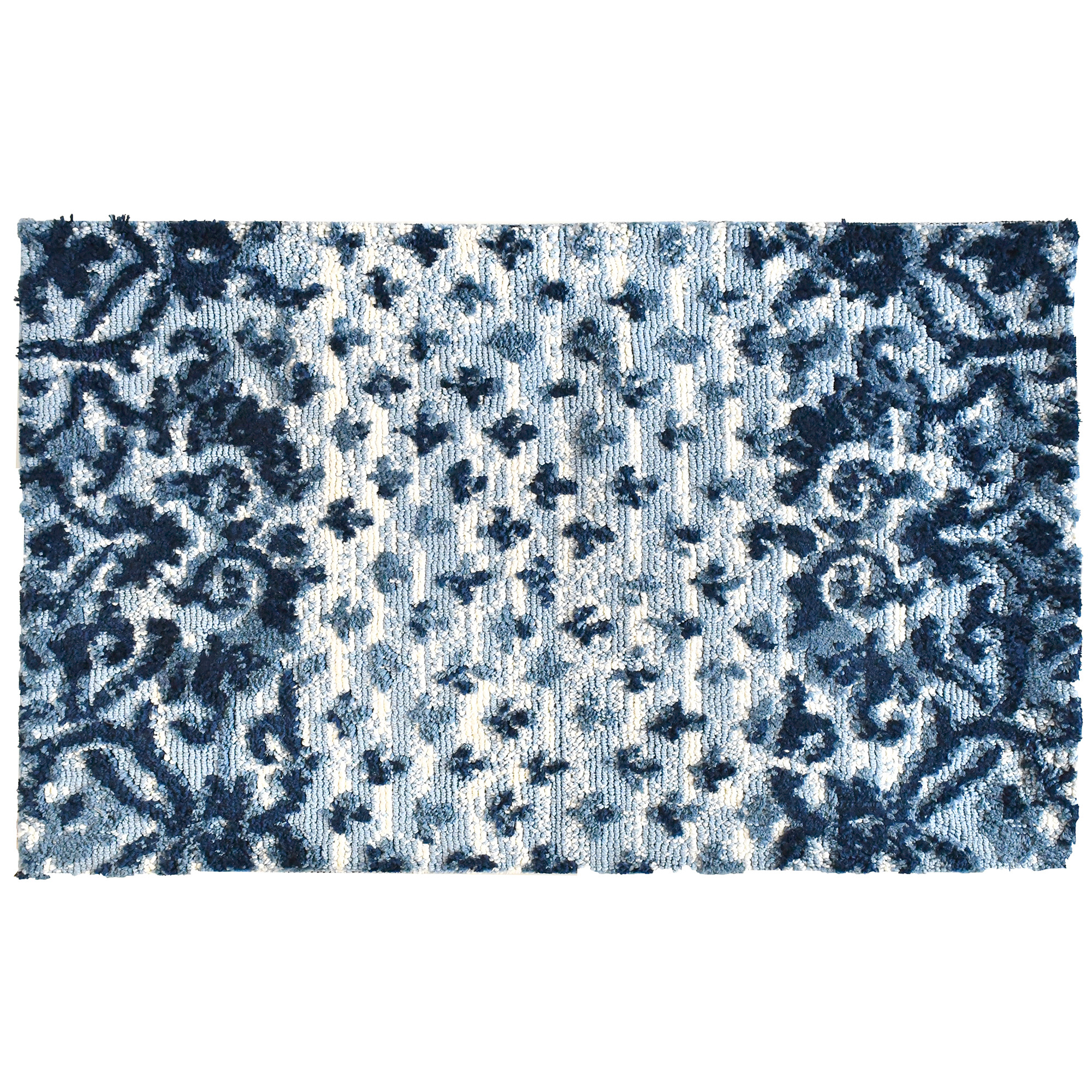 A variety of blues arranged in intricate patterns create a statement on this Simple Spaces by Jellybean® accent rug. Artist June Erica Vessdelivers an area enhancing rug with two sizes available.