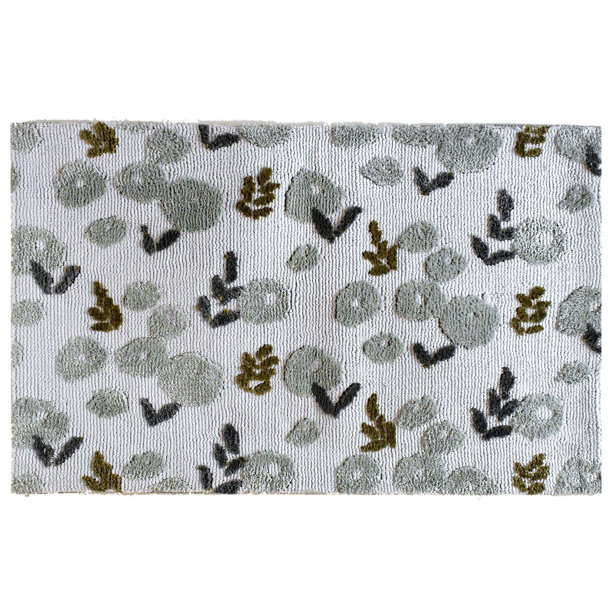 Gray blooms dot the background of this white Simple Spaces by Jellybean® accent rug. Artist Kris Ruff offers a neutral combination of colors that will fit seamlessly in a myriad of spaces. Available in two sizes, this area rug is ideal as a gift or kept for self.