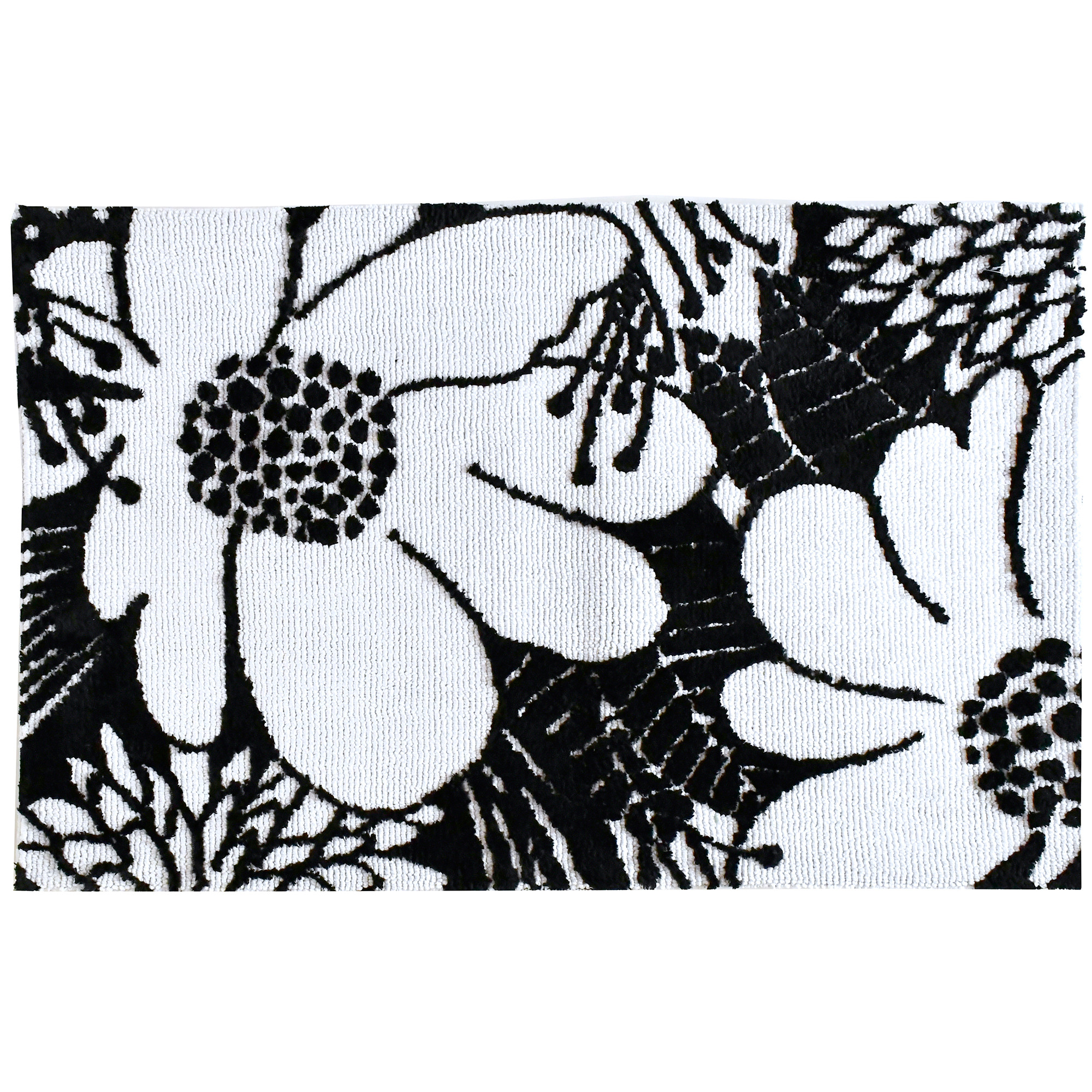 Designer Michael Mullan has us feeling groovy with this Simple Spaces by Jellybean® accent rug. Available in two sizes, the simplicity of black and white coupled with a bold floral design on this rug will stand out in the room large, or small.