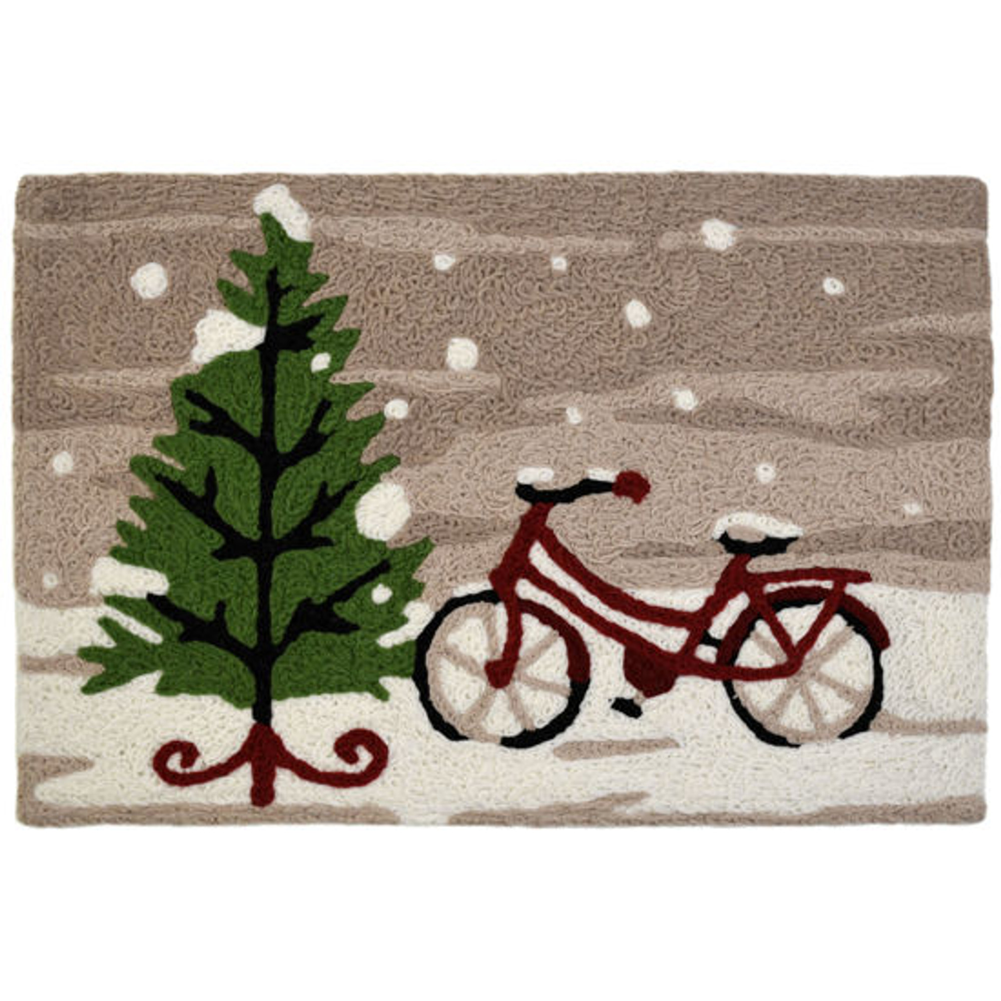 Cycling Home For Christmas Rug Tree w/ Bicycle Rug 20 x 30 Jellybean Accent Rug