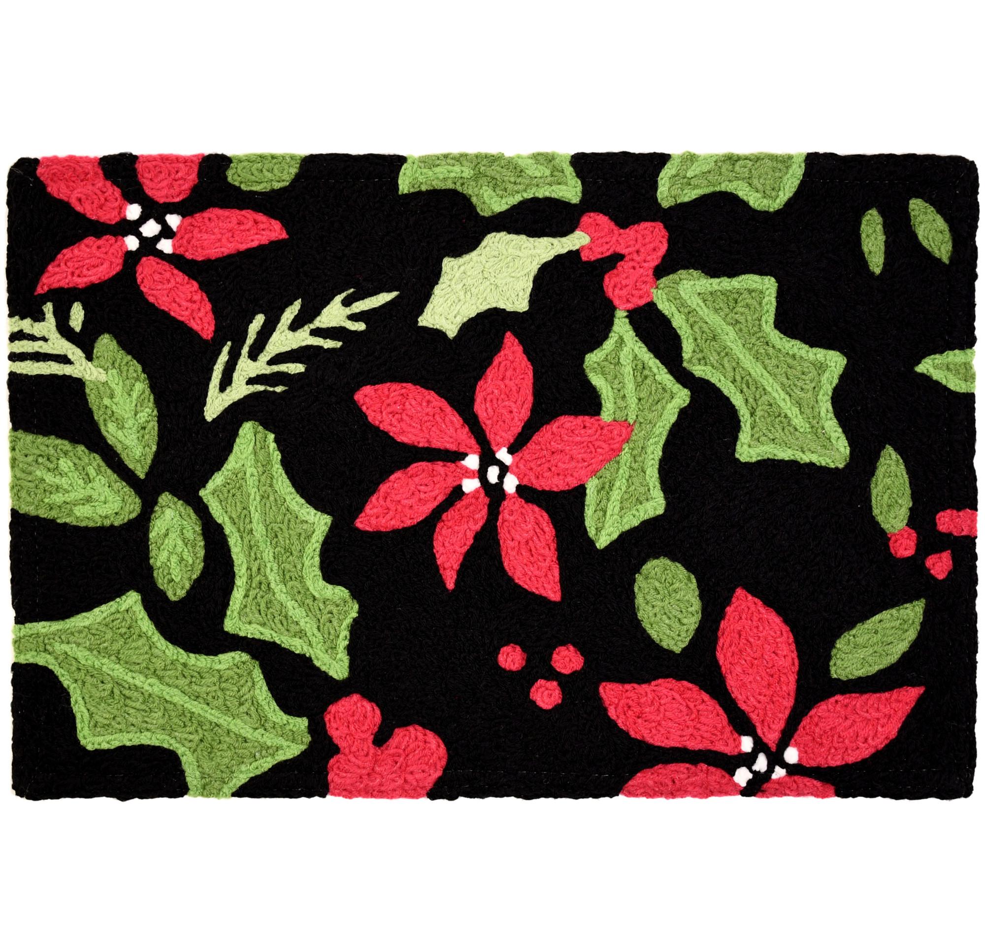 Poinsettia & Holly Toss Christmas Rug Red & Green Floral Rug 20 x 30 Jellybean Accent Rug