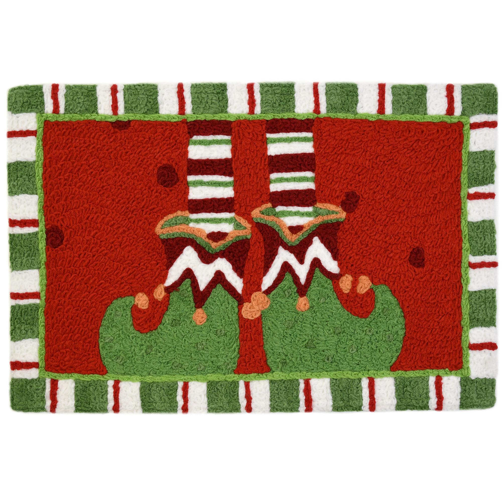 Santa's Elves Slippers Christmas Rug Holiday Rug 20 x 30 Jellybean Accent Rug