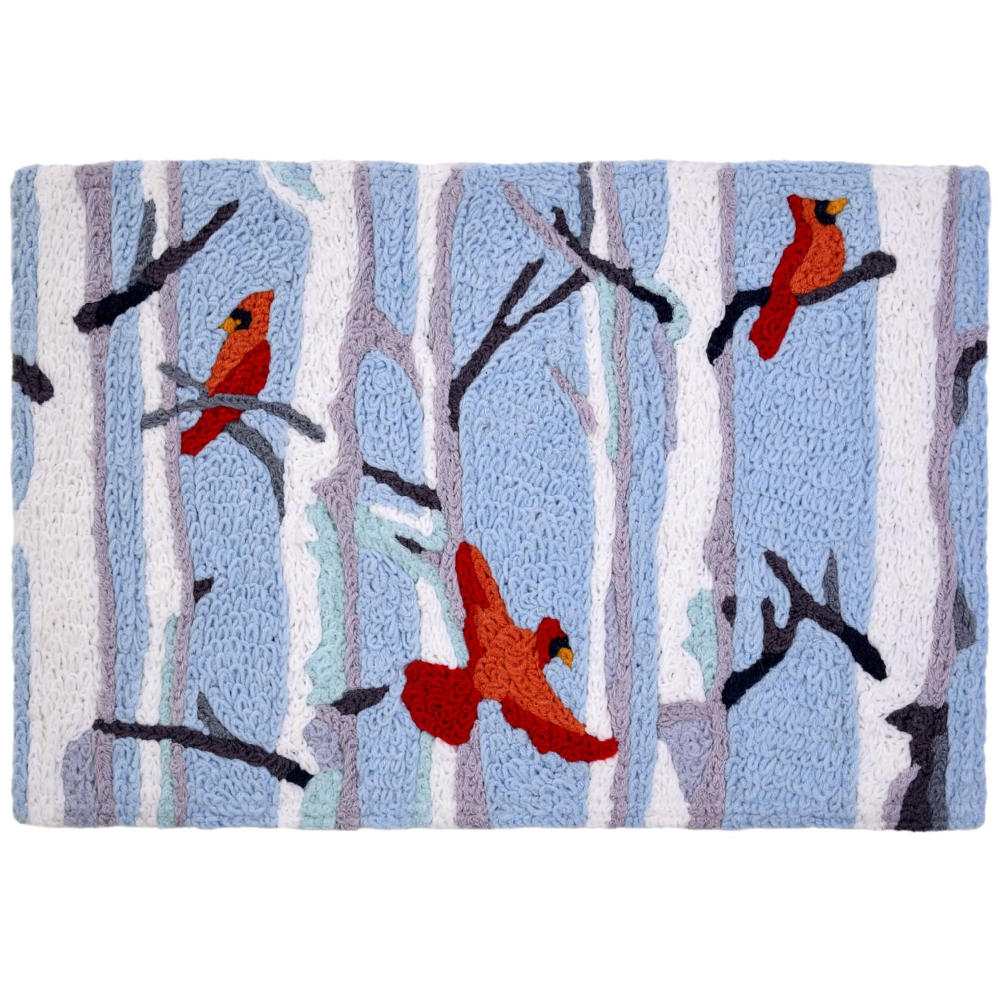 Cardinals in Birch Forest Cardinals Rug Christmas Rug 20 x 30 Jellybean Accent Rug