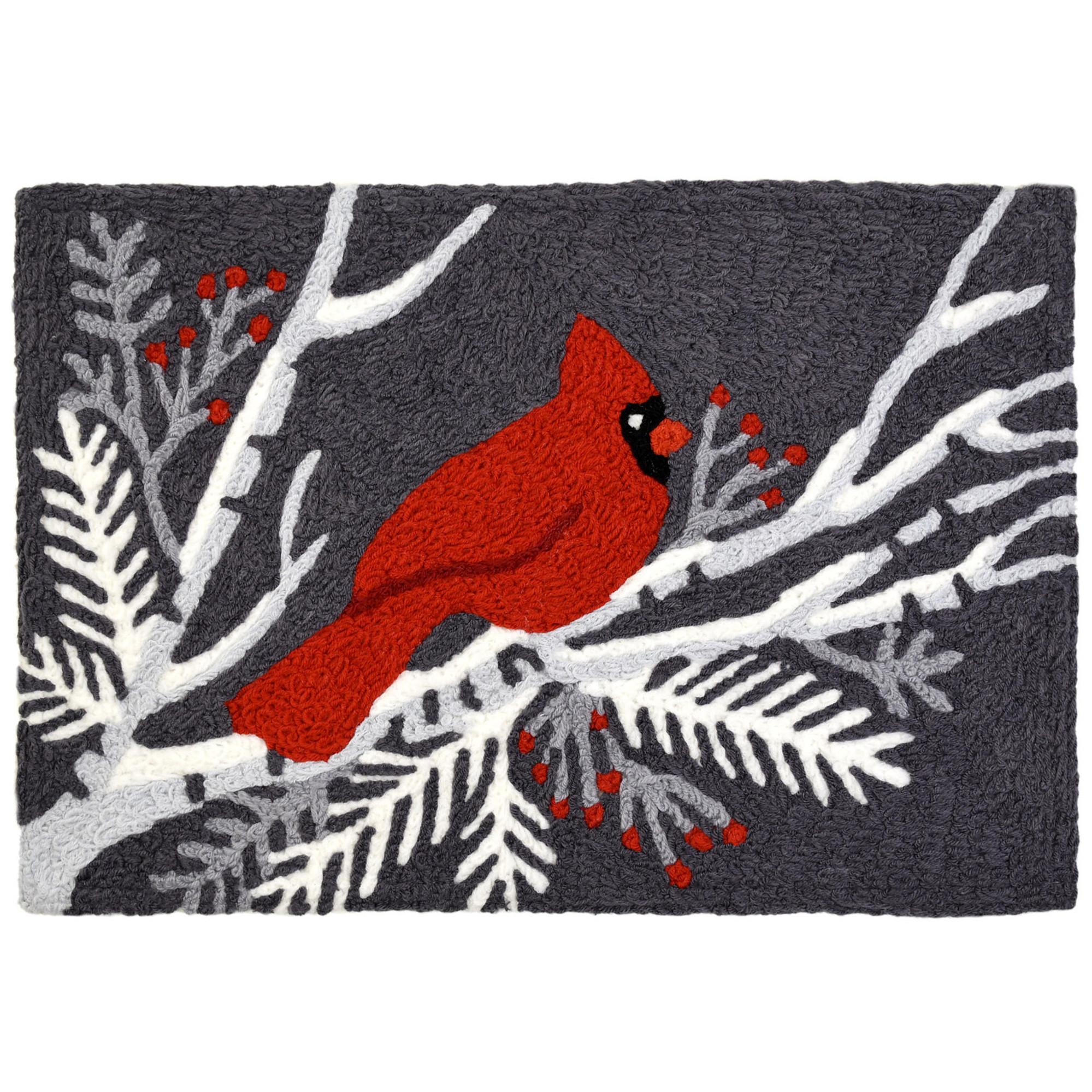 Cardinal on Gray Rug with Cardinal Bird Themed Rug 20 x 30 Jellybean Accent Rug