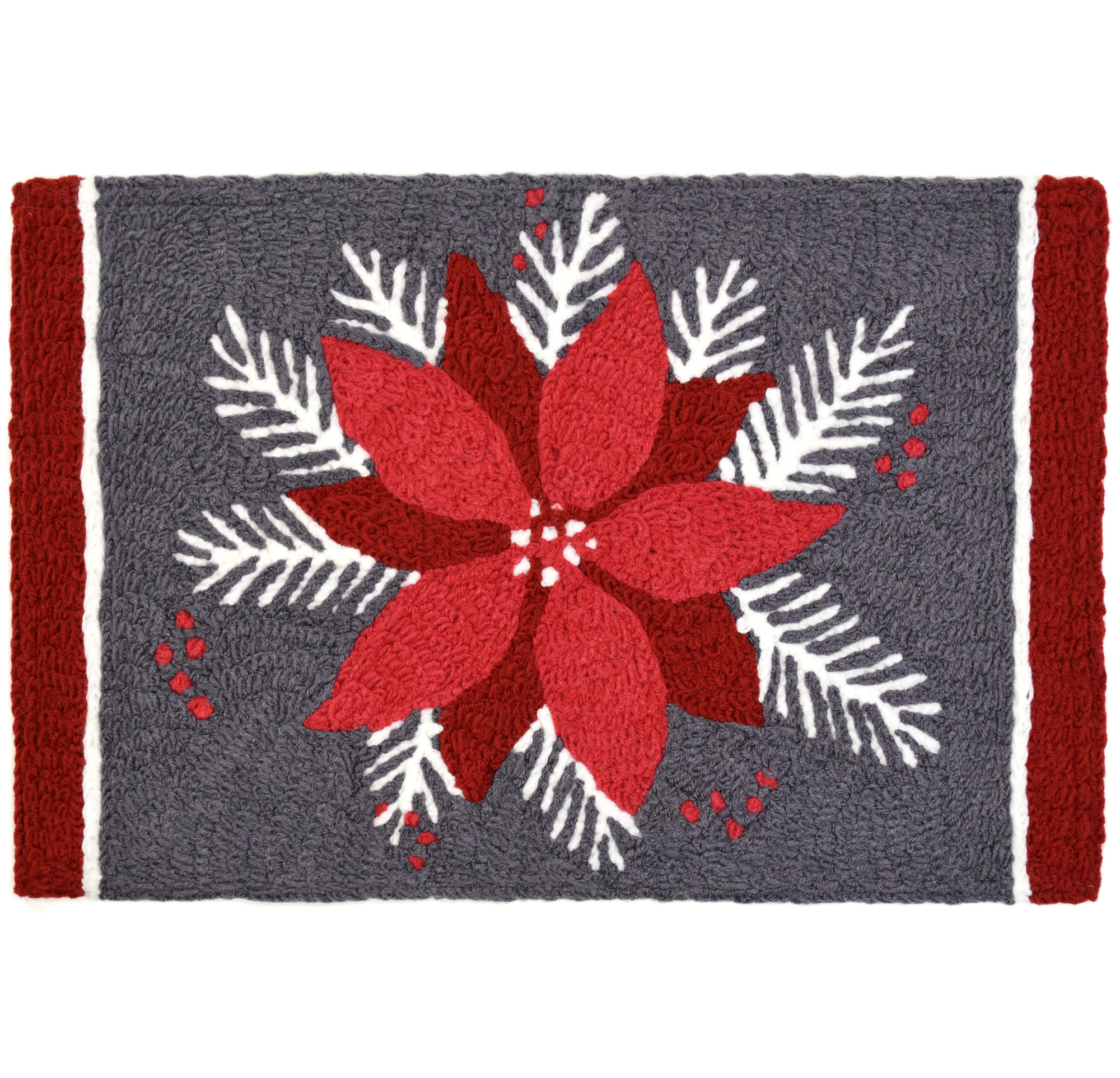 Poinsettia on Gray Christmas Rug with Red Flower 20 x 30 Jellybean Accent Rug