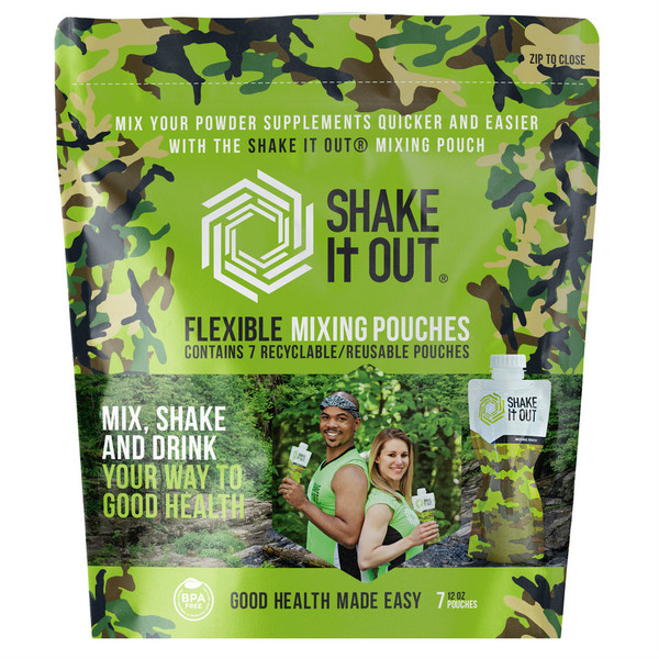 SHAKE It OUT ® - Camo Travel Shaker Pack of 7 - Front of Package