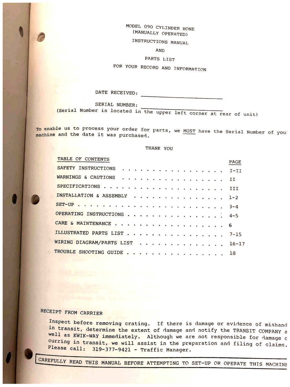 Kwik Way Model 090 Manual Revision 2