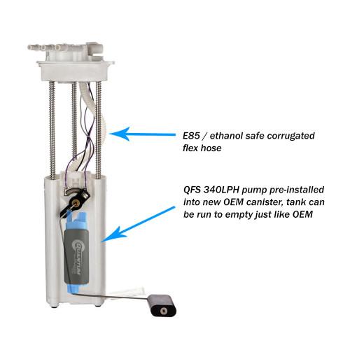 Quantum QFS 340LPH Direct Drop-In Performance Fuel Pump Assembly w/ Sending Unit Chevrolet S10 1997-2003, Replaces Airtex E3952M