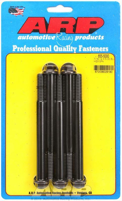 ARP ARP 7/16-14 X 5.000 Hex 1/2 Wrenching Black Oxide Bolts, 655-5000