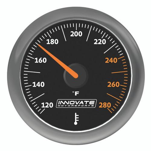 Innovate 3861 MTX Analog Fluid Temp Gauge Kit, Black Dial