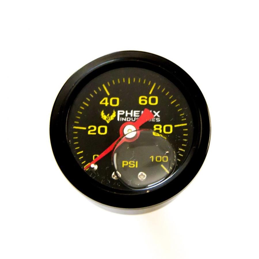 Phenix Industries Pressure Gauge 0 to 100 Psi 1/8 NPT Silicone Filled