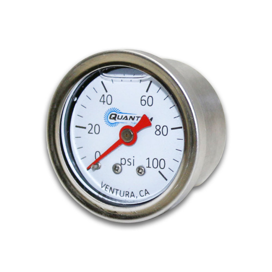 """Quantum QFS EFI Liquid Filled Fuel Pressure Gauge 0-100psi 1/8"""" NPT 1.5""""/38mm"""