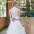 White Tulle Lace Halter Sleeveless Wedding Dress
