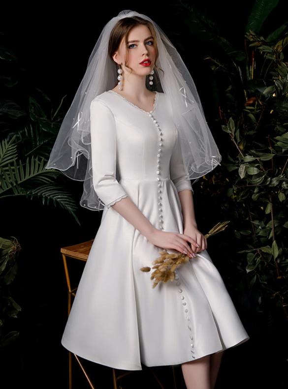 White Satin V-neck Long Sleeve Knee Length Short Wedding Dress