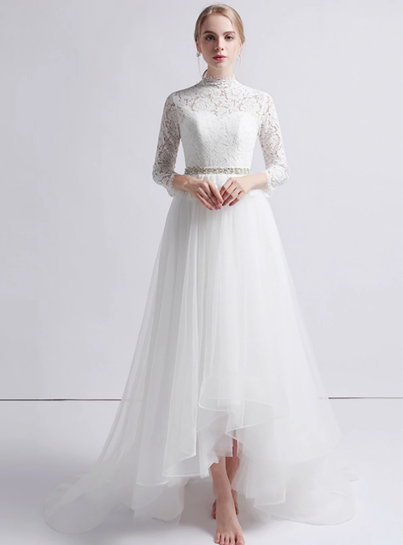 A-Line White Tulle Lace Long Sleeve Hi Lo Wedding Dress