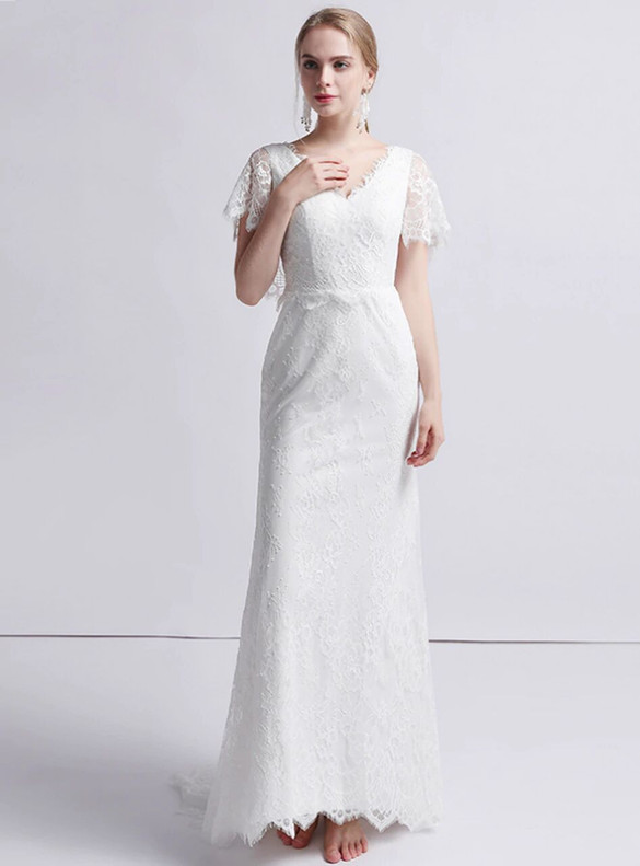 White Mermaid Lace V-neck Bat Sleeve Wedding Dress