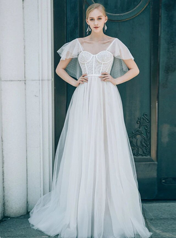 A-Line White Tulle Square Open Back Wedding Dress
