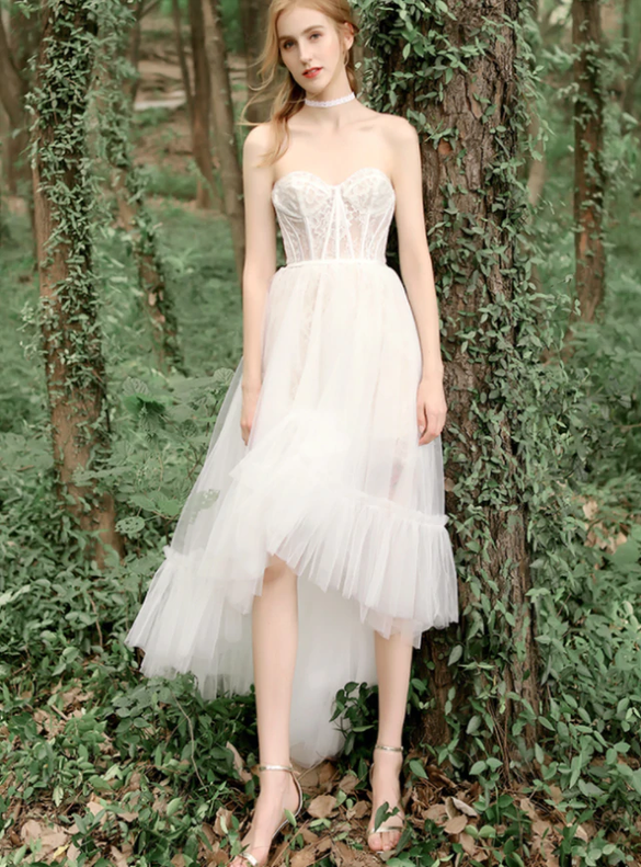 White Hi Lo Tulle Sweetheart Corset Wedding Dress
