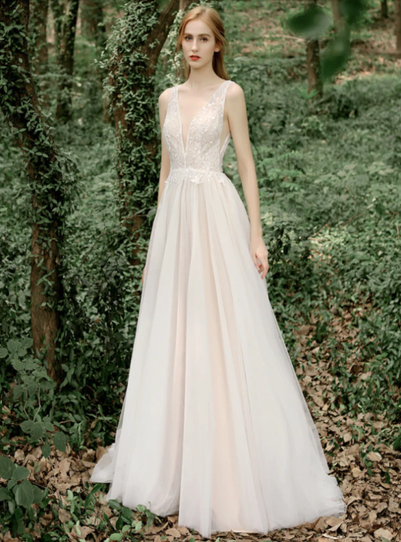 Champagne Tulle Sequins Deep V-neck Wedding Dress