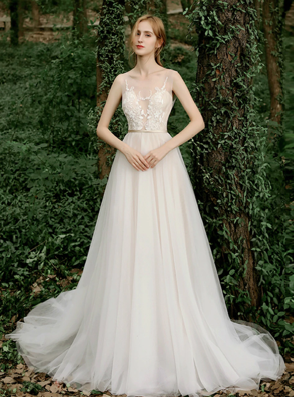Champagne Tulle Sleeveless Illusion Appliques Wedding Dress