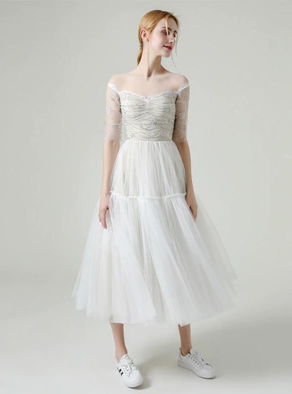 Unique White Tulle Short Sleeve Beading Short Wedding Dress