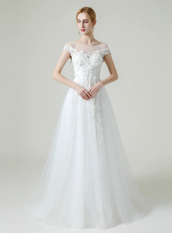 A-Line White Tulle Cap Sleeve Appliques Beading Wedding Dress