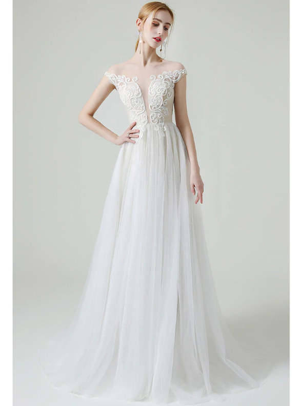 Light Champagne Tulle Cap Sleeve Beading Wedding Dress