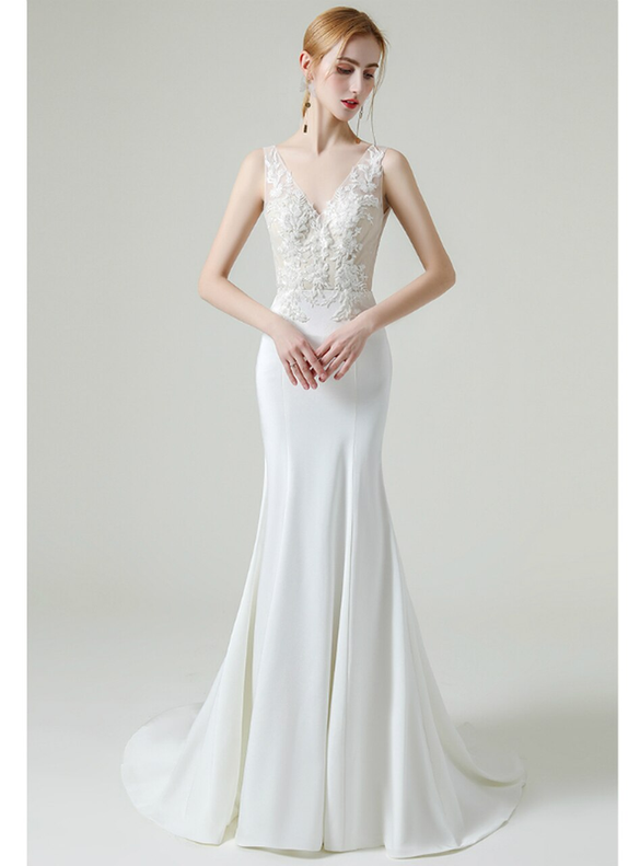 Dreamy White Mermaid Satin Deep V-neck Appliques Beading Wedding Dress