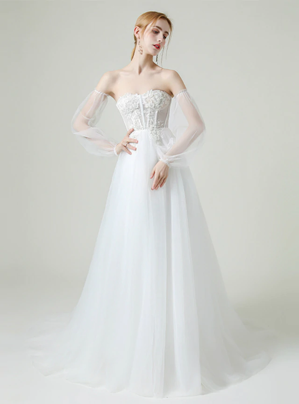 High quality White Tulle Sweetheart Beading Wedding Dress