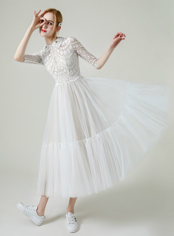 Casual Tulle Lace Half Sleeve Tea Length Wedding Dress