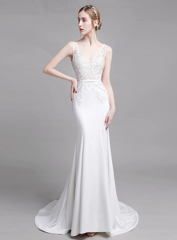 Sexy White Mermaid Satin V-neck Backless Appliques Wedding Dress