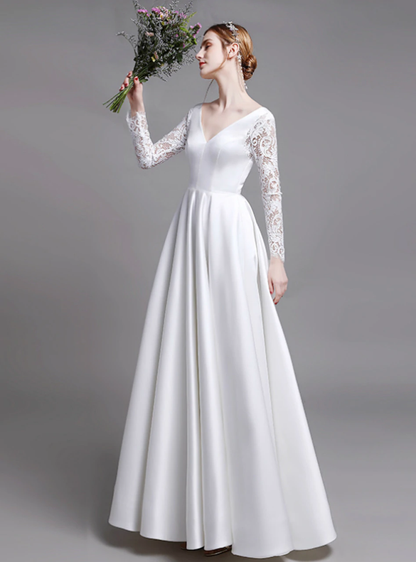 Modern White Satin Lace Long Sleeve Deep V-neck Wedding Dress