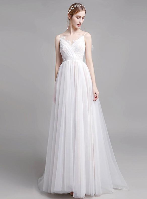 Simple White Tulle Lace Spaghetti Straps Wedding Dress